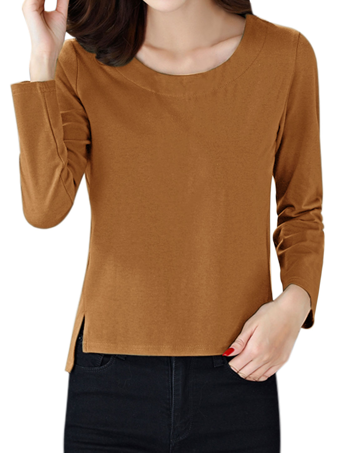 Women Round Neck Long Sleeves Split Sides T-shirt Brown S