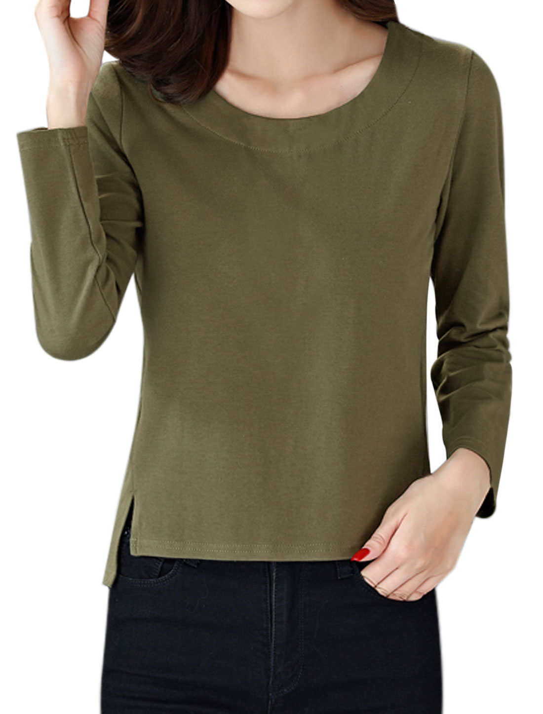 Women Round Neck Long Sleeves Split Sides T-shirt Green M
