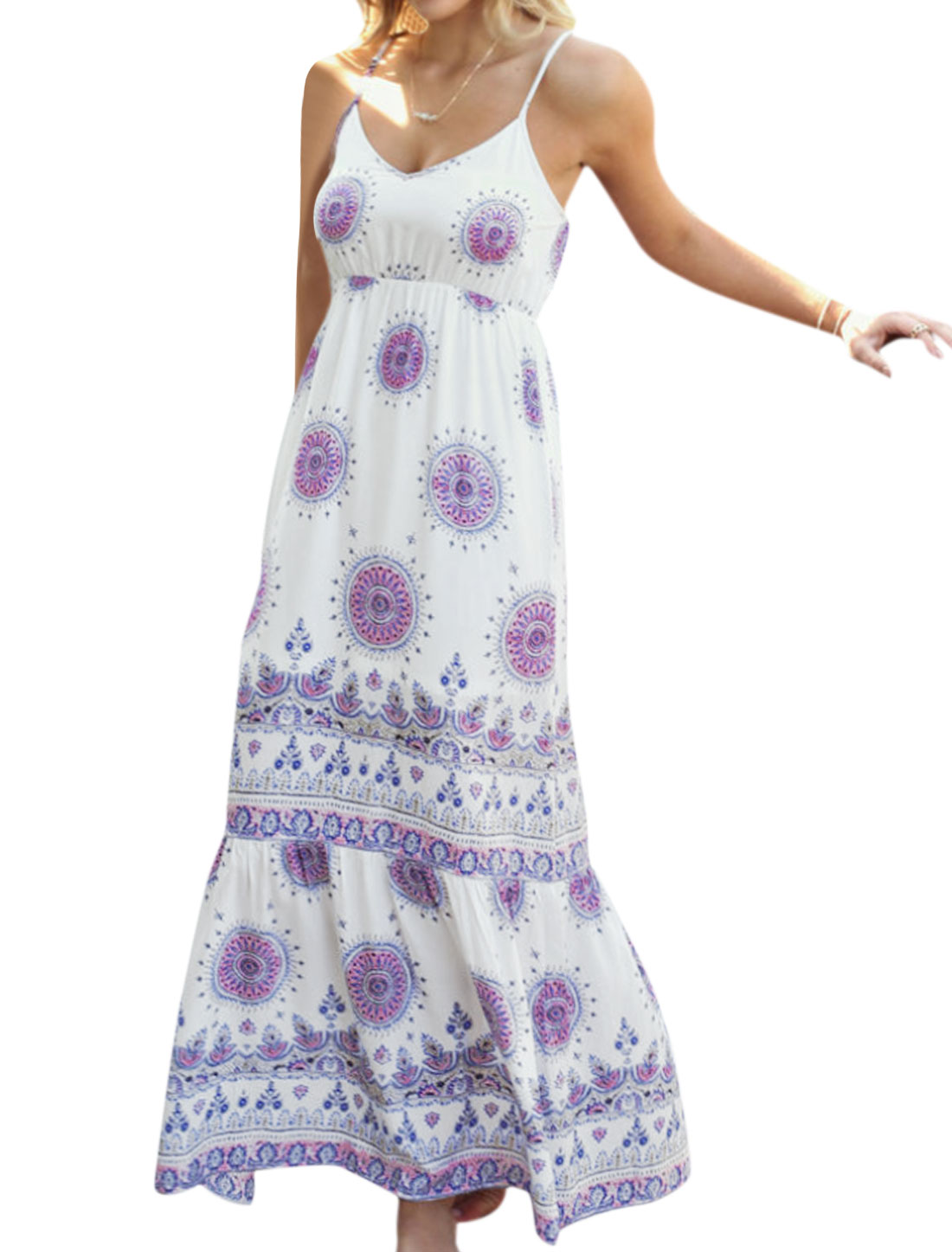 Women Empire Waist V Neck Printed Boho Maxi Cami Dress White XS
