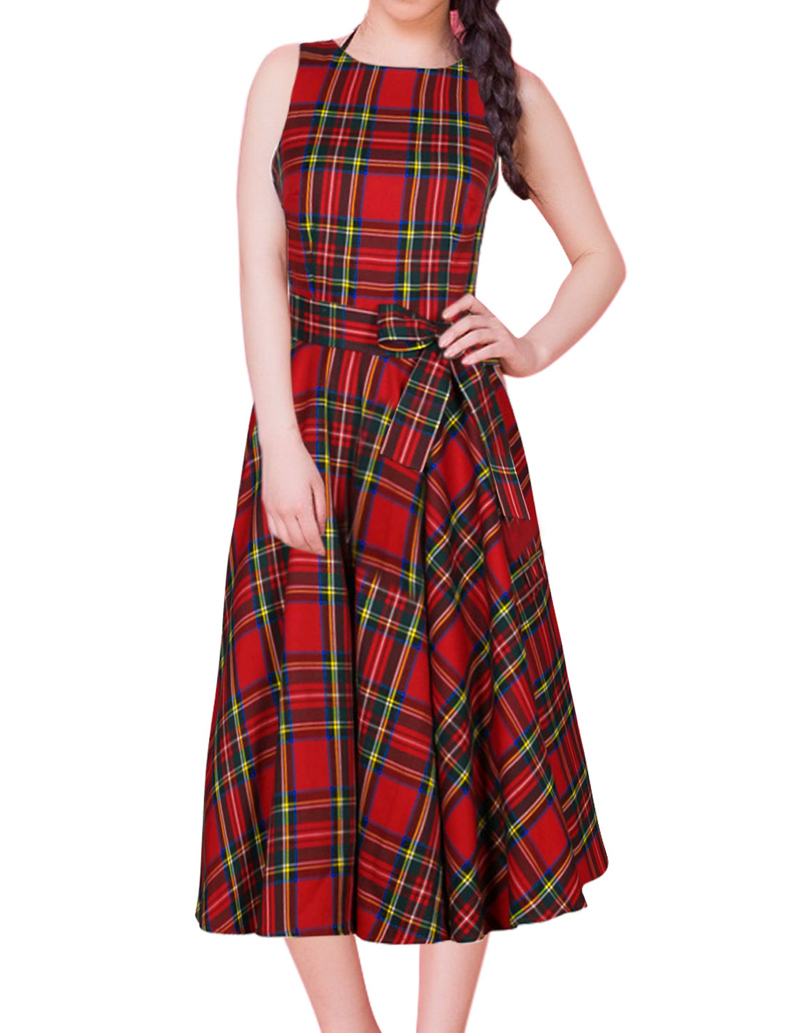 Women Sleeveless Boat Neck Open Back Belted Checked A-Line Dress Red M