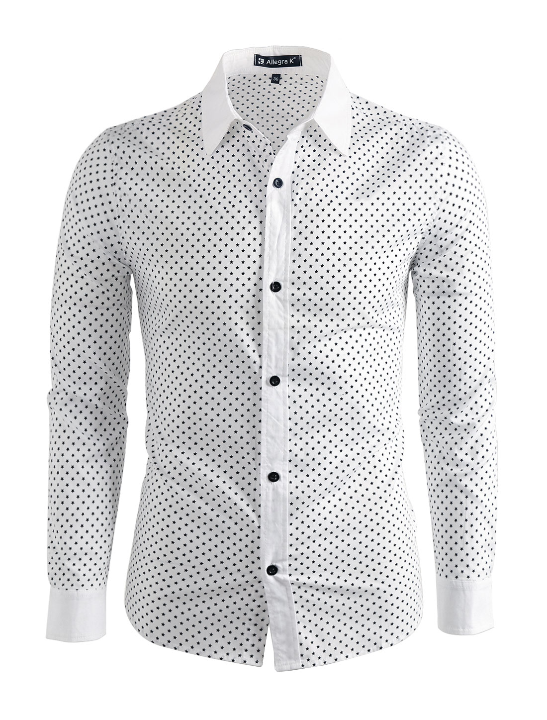 Men Button Down Allover Print Round Hem Slim Fit Long Sleeves Shirt White L