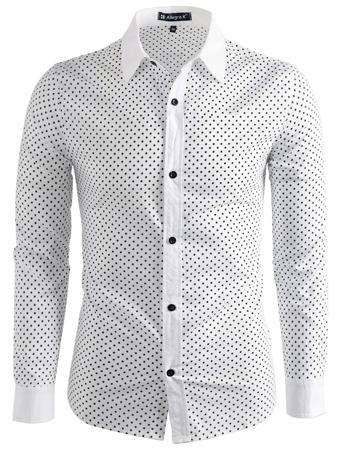 Men Stars Print Round Hem Button Down Slim Fit Long Sleeve Shirt White L