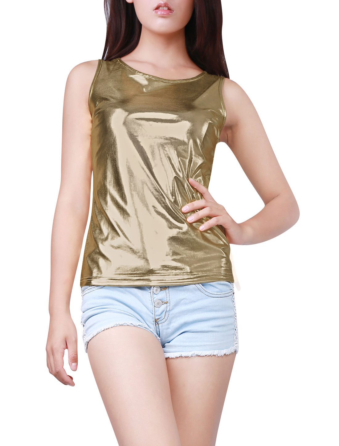 Woman U Neck Stretch Slim Fit Metallic Tank Top Light Gold XS