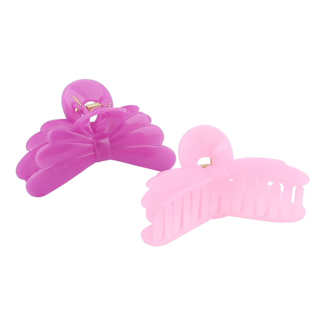 Ladies Plastic Butterfly Shape Spring Loaded Bathing Barrette Claw Clamp Clip 2pcs