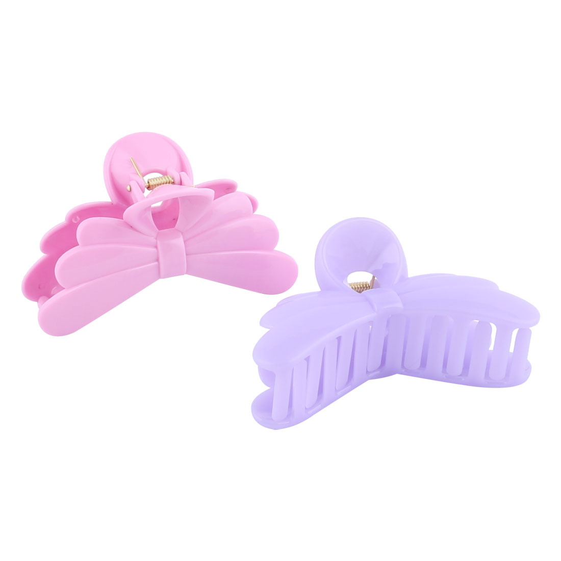 Ladies Plastic Butterfly Shape Bath Barrette Claw Clamp Clip Hairpin Pink Purple 2pcs