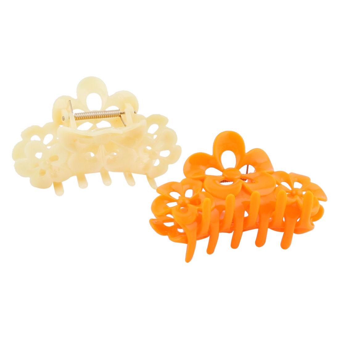 Woman Plastic Flower Shape 10 Teeth Hair Claw Hairpin Clip Clamp 2 pcs