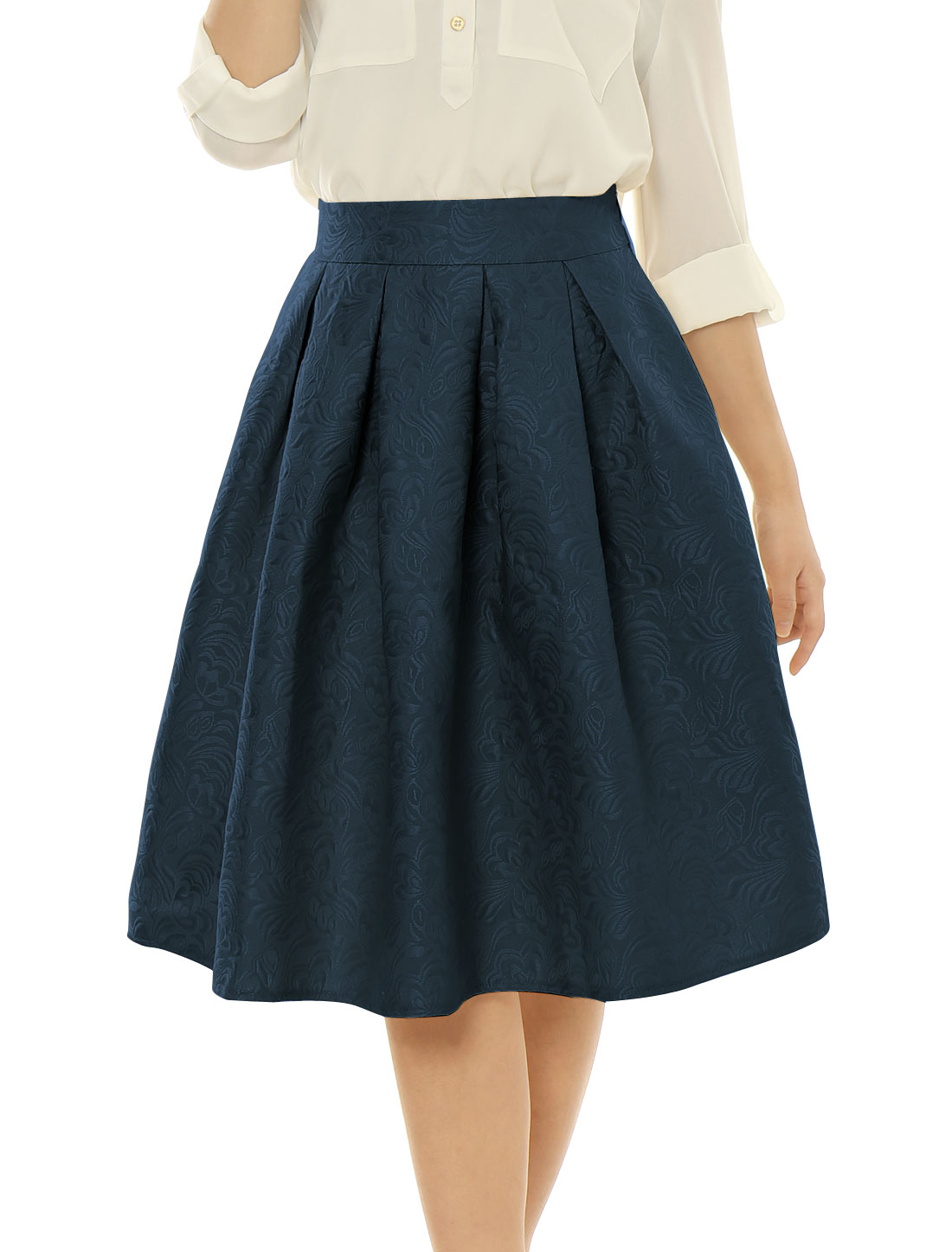 Woman High Waist Floral Jacquard Pleated Full Skirt Navy Blue L