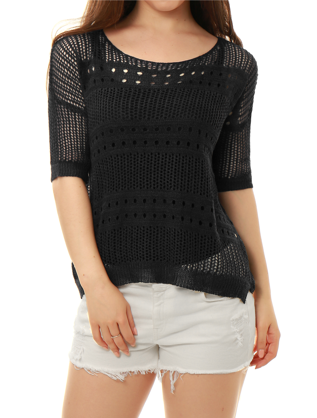 Ladies Elbow Sleeves Hollow Out High Low Hem Knit Shirt Black XS