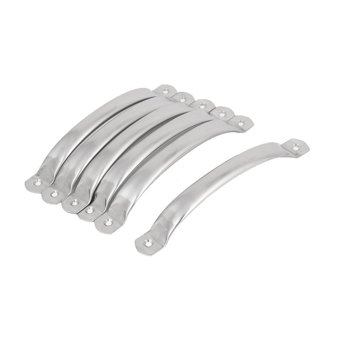 Cupboard Closet Stainless Steel Arch Style Pull Handle Silver Tone 182x21x28mm 6pcs