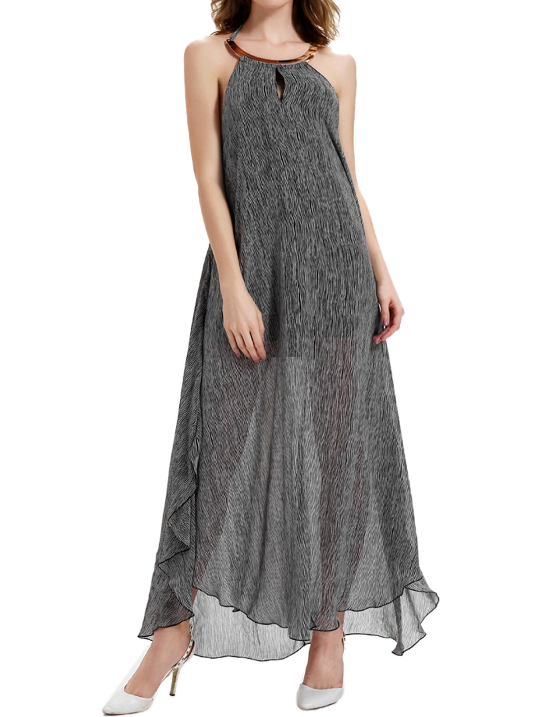 Women Backless Printed Split High Low Chiffon Maxi Dress Black M