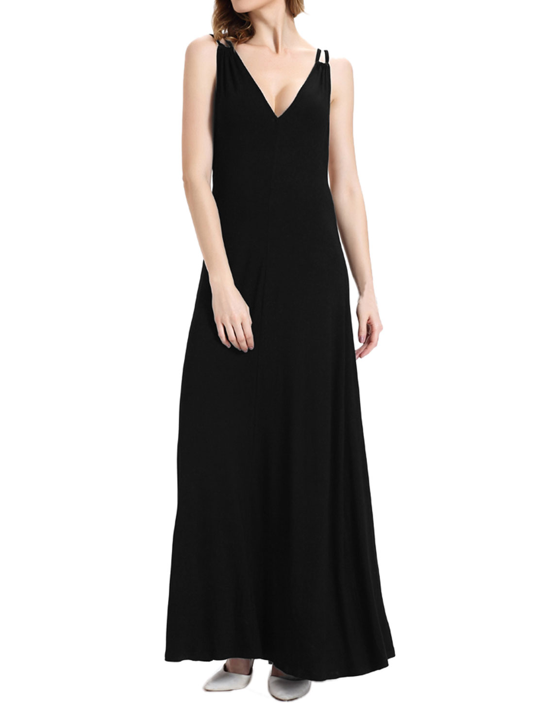 Women Deep V Neck Backless Maxi Party Dress Black M