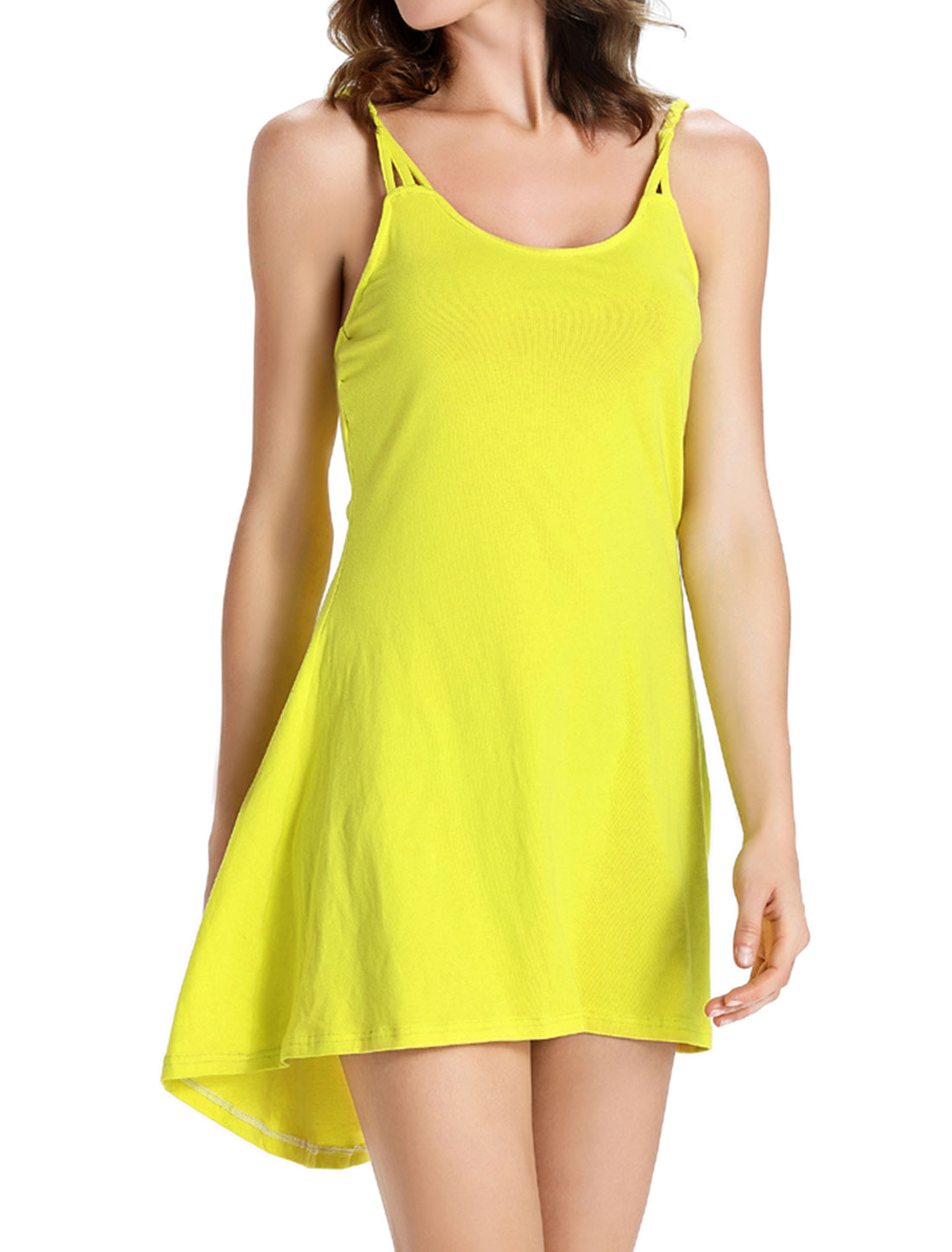 Women Spaghetti Straps Scoop Neck Open Back Tunic Cami Dress Yellow M