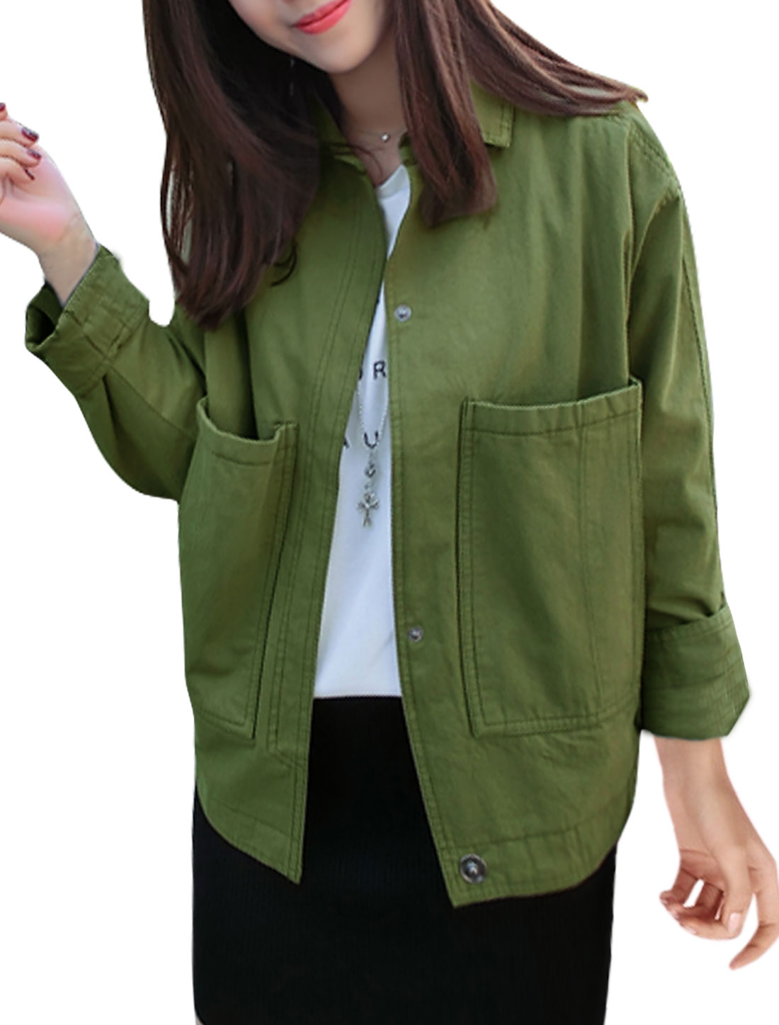 Women Long Sleeve Big Pockets Button Closure Jacket Green S