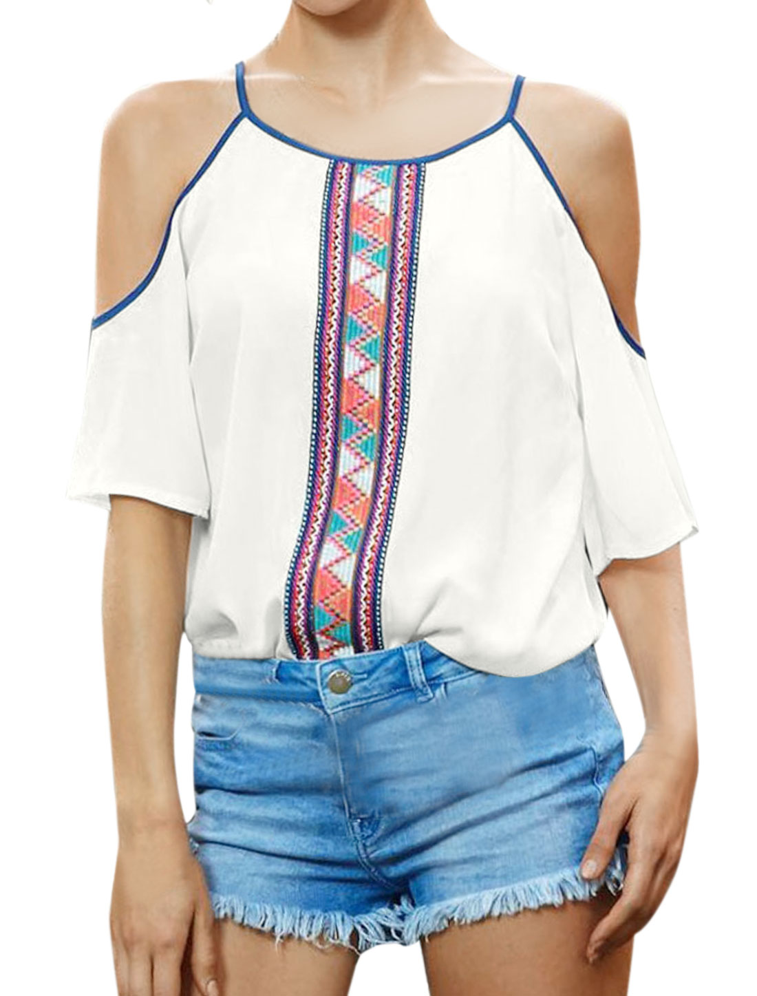 Women Open Shoulder Spaghetti Straps Geometric Print Tunic Top White S