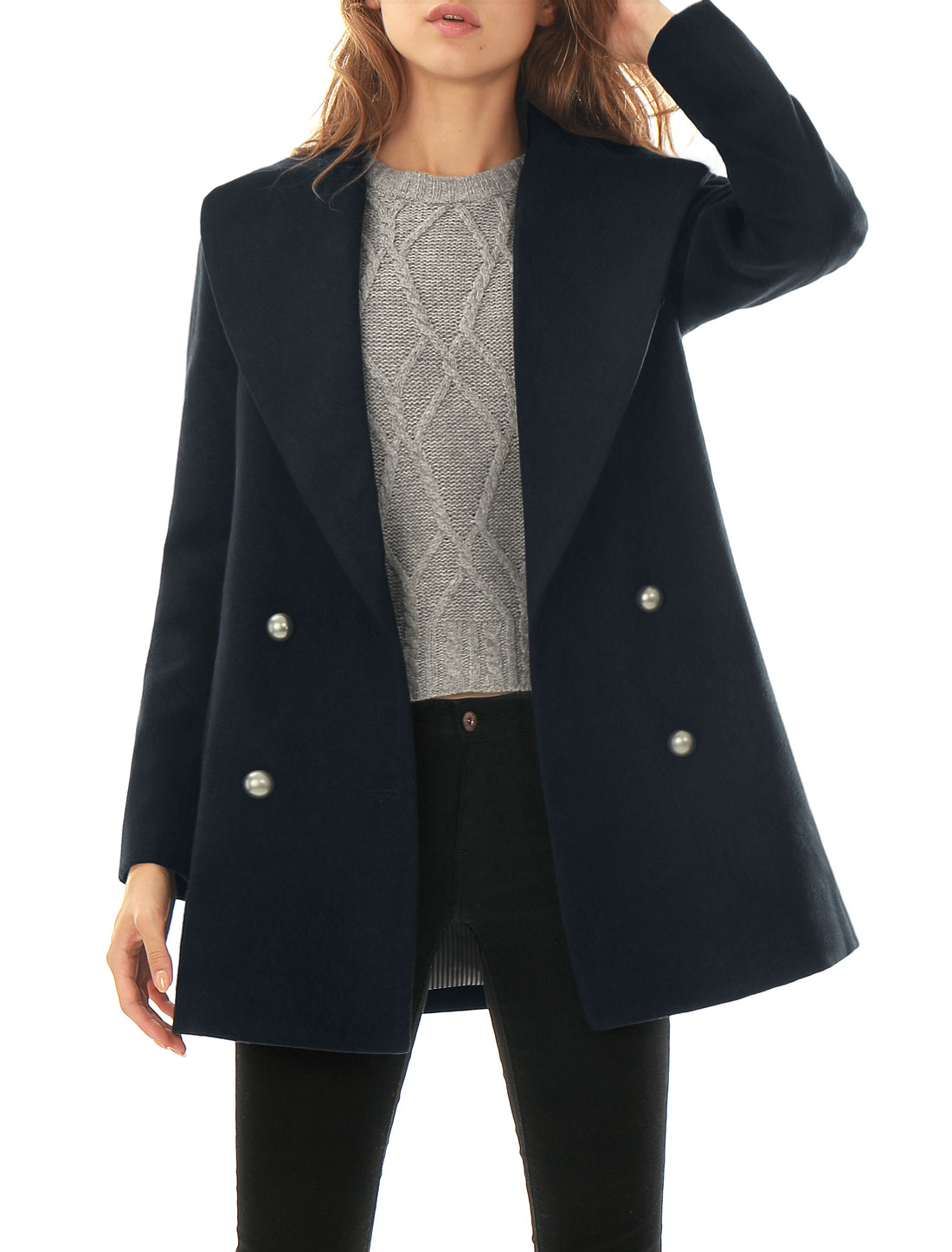Women Notch Lapel Pockets Double Breasted Worsted Coat Blue L