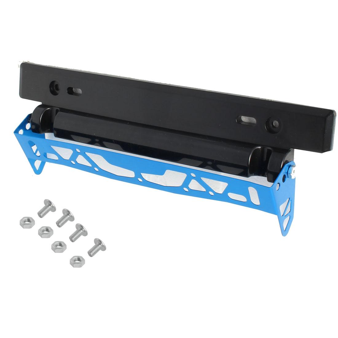 Car Auto Metal Plastic Adjustable Hollow Design License Plate Frame Bracket Holder Black Blue