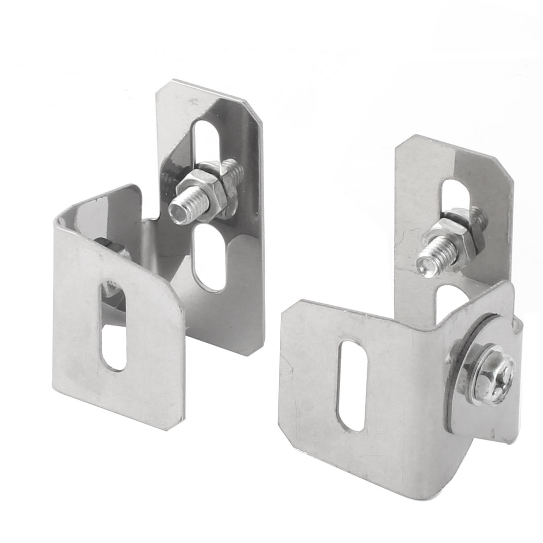 Auto Car Alloy Adjustable Plate License Frame Fixing Bracket Holder Silver Tone Pair