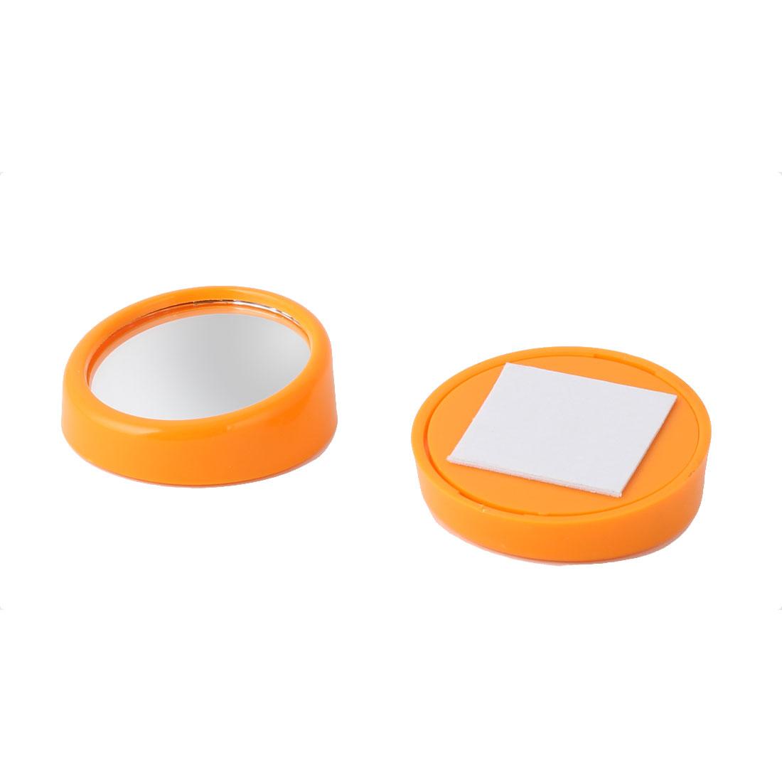 Car Auto Round Shaped Convex Rearview Blind Spot Mirror Orange 45mm Dia 2pcs
