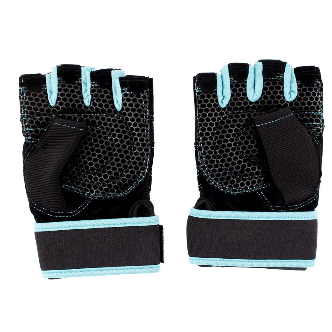 Cycling Driving Sports Fingerless Mesh Hole Braided Fitness Gloves Black M Size Pair