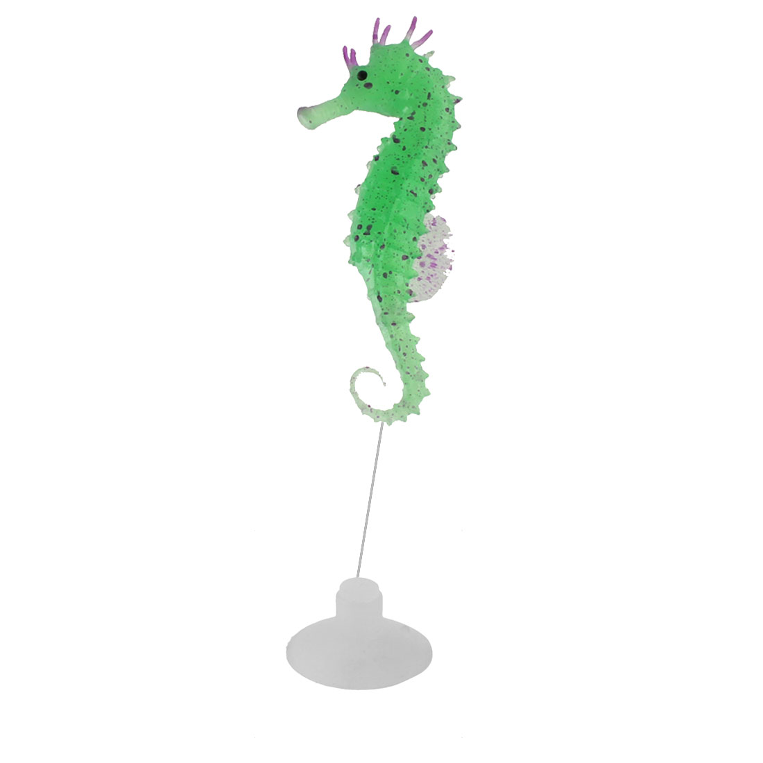 Aquarium Silicone Floating Artificial Glowing Seahorse Decoration Ornament Green
