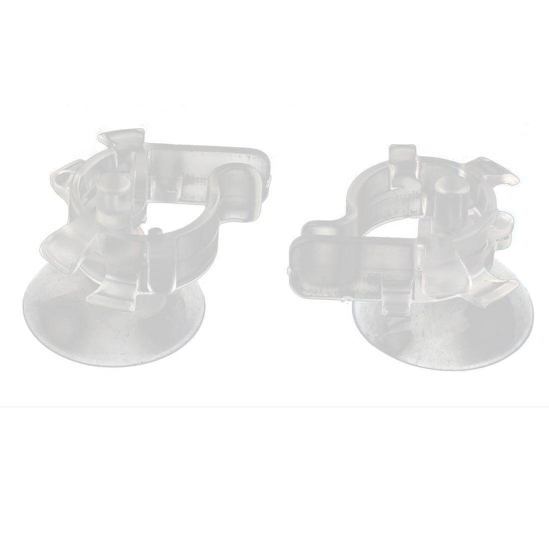 Aquarium Plastic Multi-functional Suction Cup Mount Bending Air Tube Tubing Valve Pipe Holder Clip Clamp Clear 2pcs