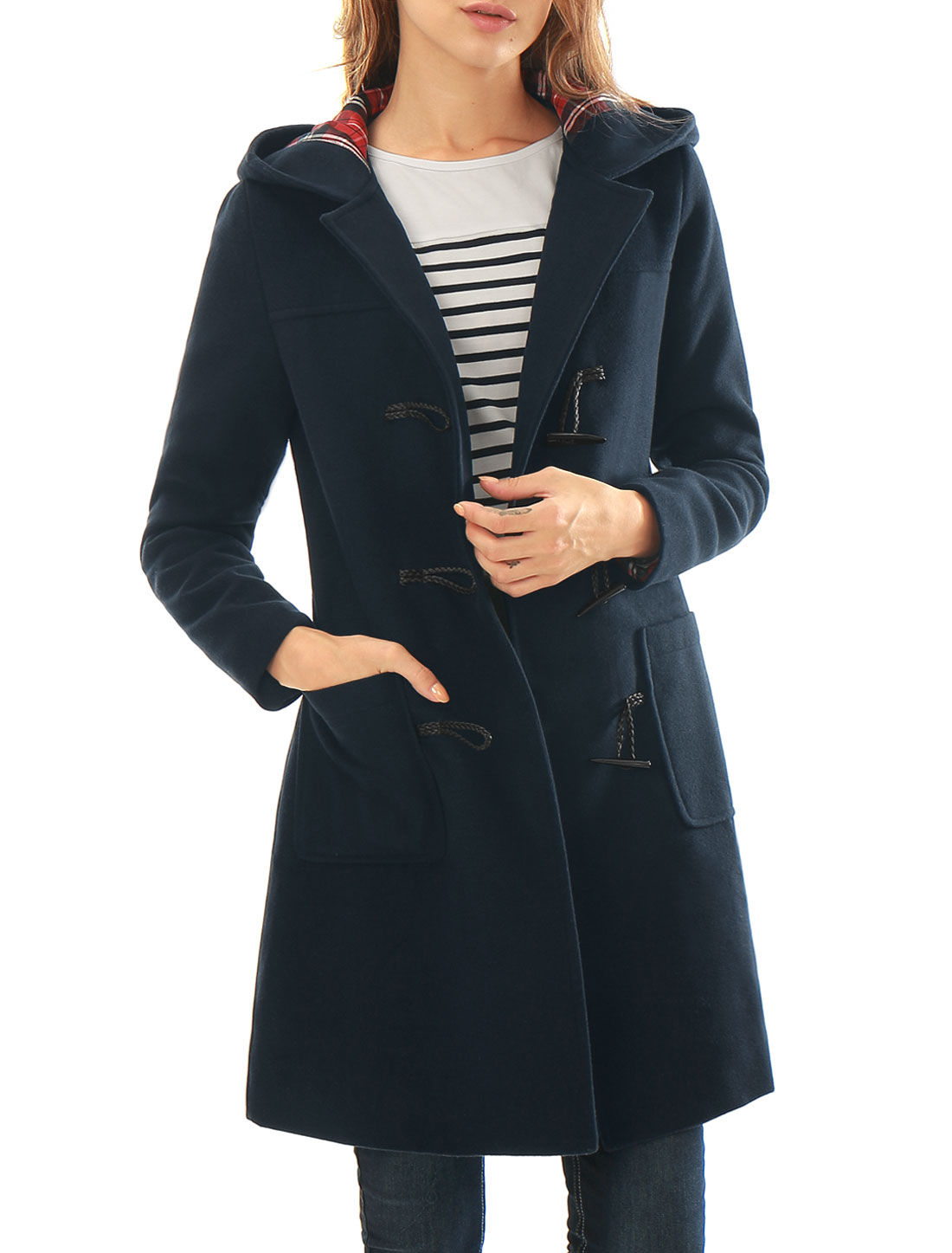 Women Toggle Closure Hooded Patch Pockets Duffle Coat Blue L