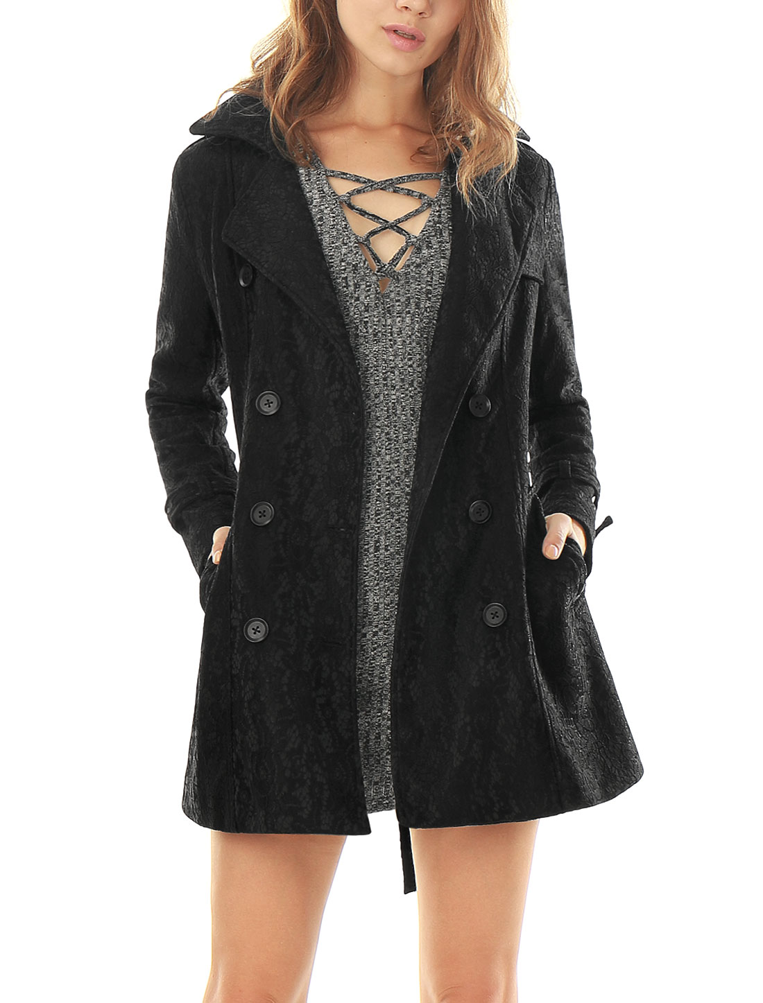 Women Long Sleeves Double Breasted Belted Lace Trench Coat Black L