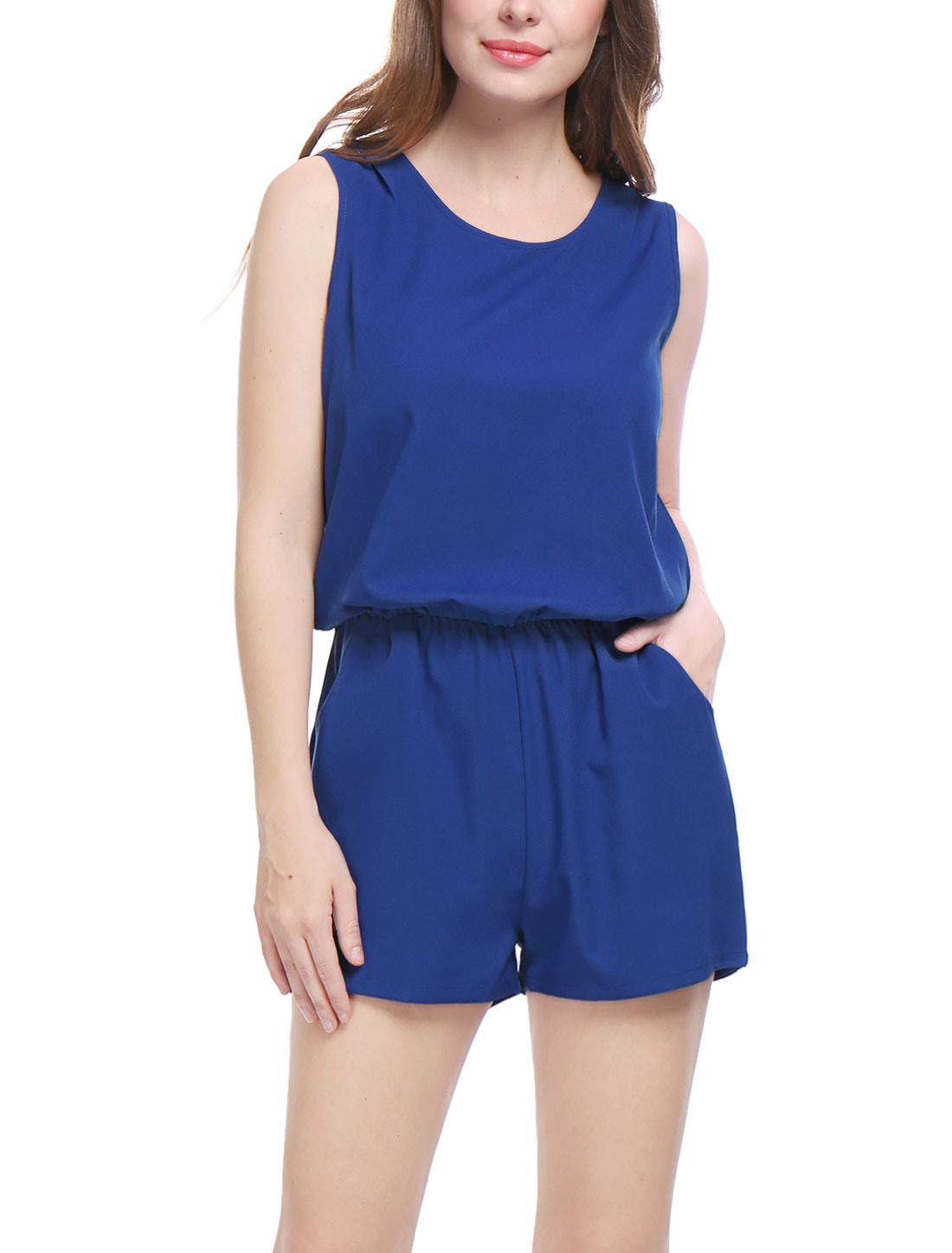 Women Sleeveless Cut Out Back Elastic Waist Romper Dark Blue M