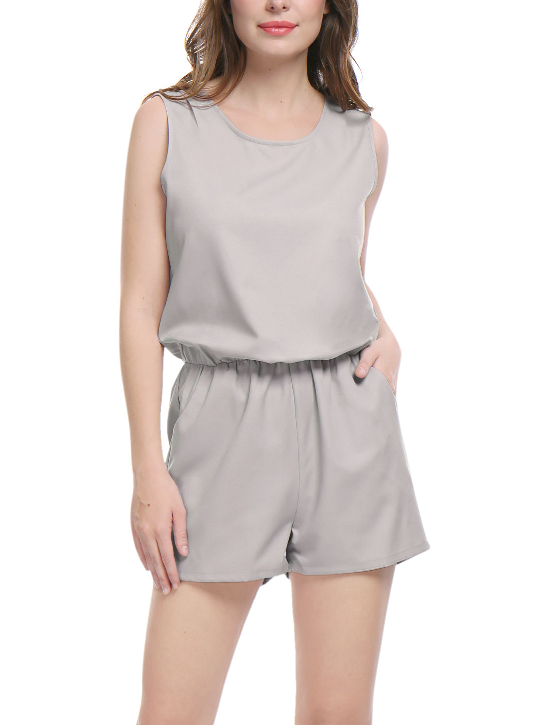 Women Sleeveless Cut Out Back Elastic Waist Romper Gray L