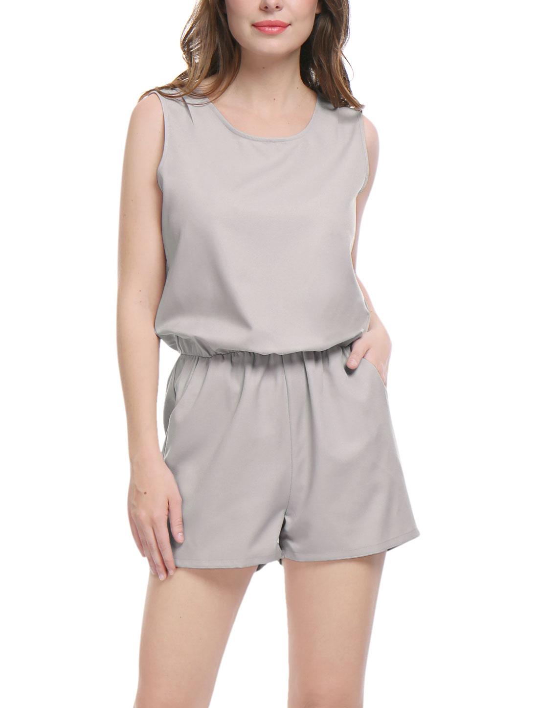 Women Sleeveless Cut Out Back Elastic Waist Romper Gray XL