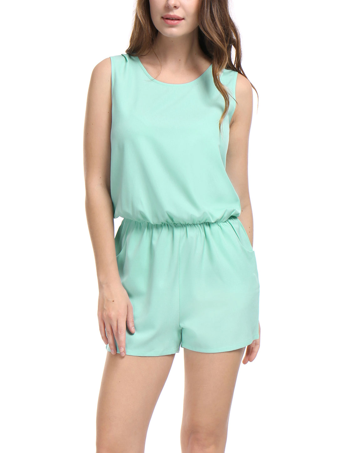 Women Sleeveless Cut Out Back Elastic Waist Romper Green S