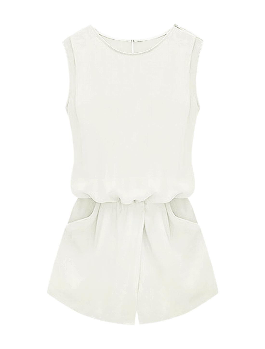 Women Sleeveless Cut Out Back Elastic Waist Romper White XL