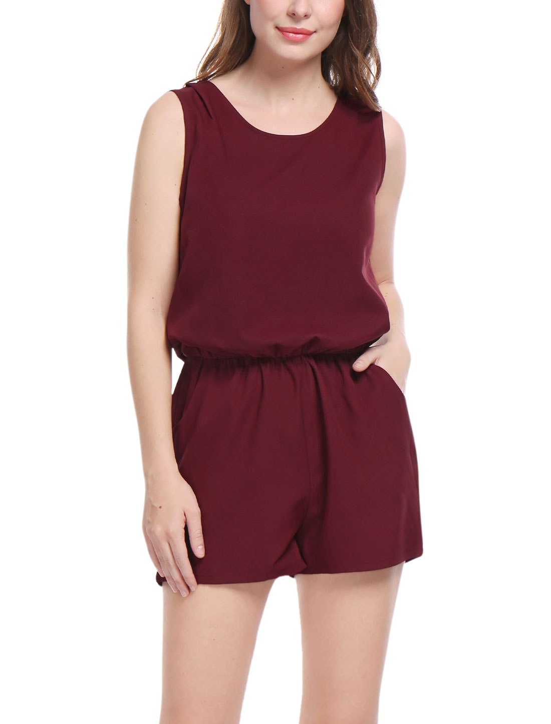 Women Sleeveless Cut Out Back Elastic Waist Romper Burgundy XL