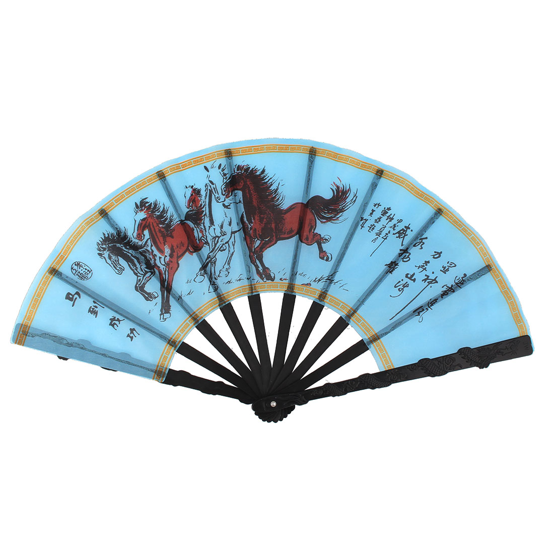 Plastic Ribs Horse Pattern Chinese Traditional Style Handheld Folding Fan