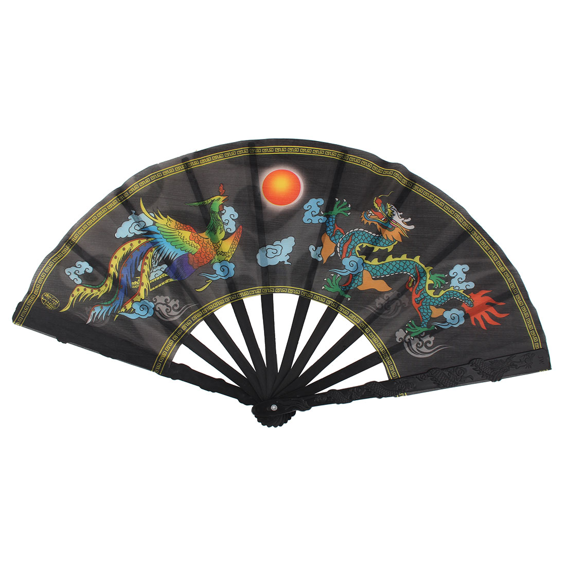 Summer Plastic Ribs Dragon Print Chinese Traditional Style Handheld Folding Fan