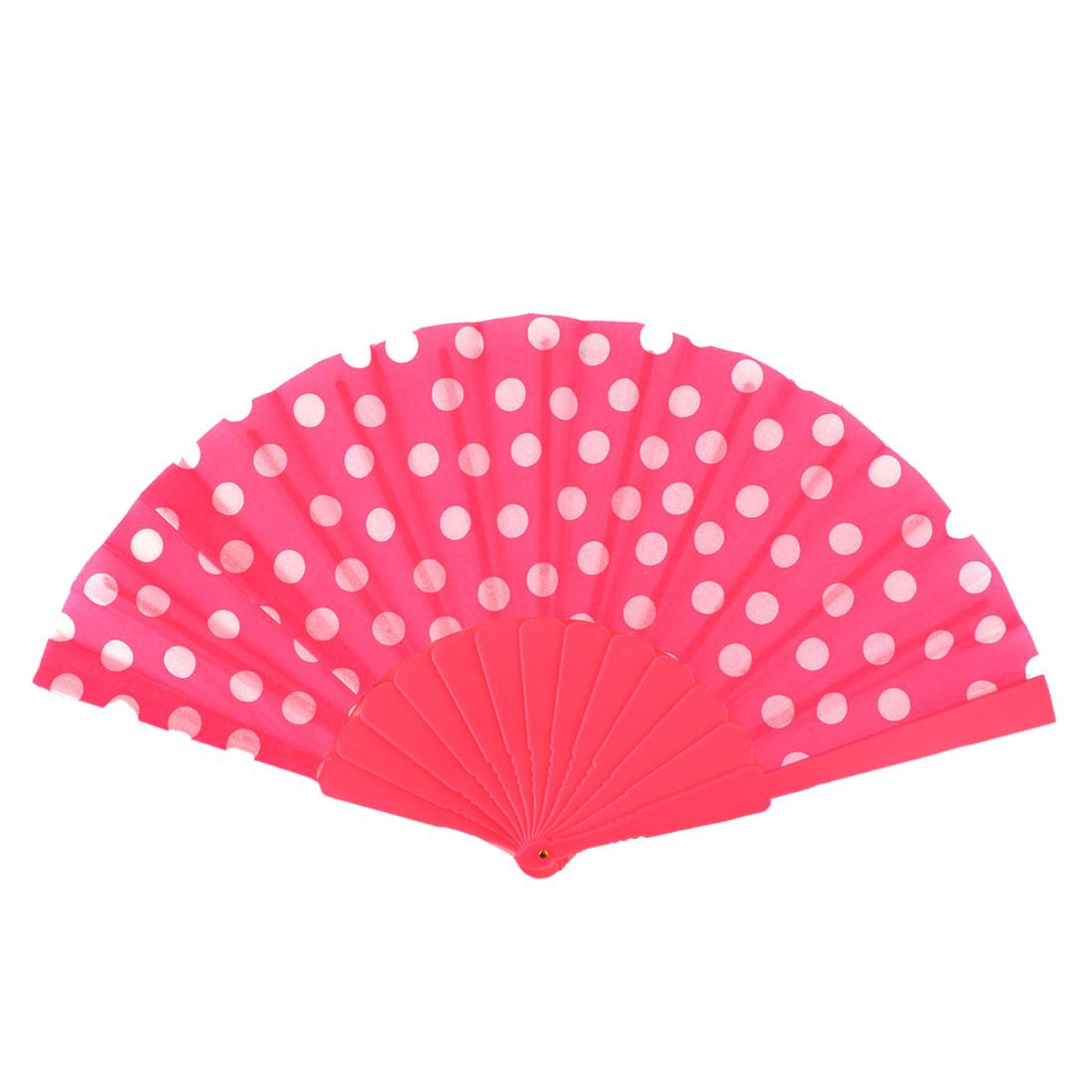 Plastic Frame Dot Pattern Chinese Style Cooling Handheld Folding Fan for Women