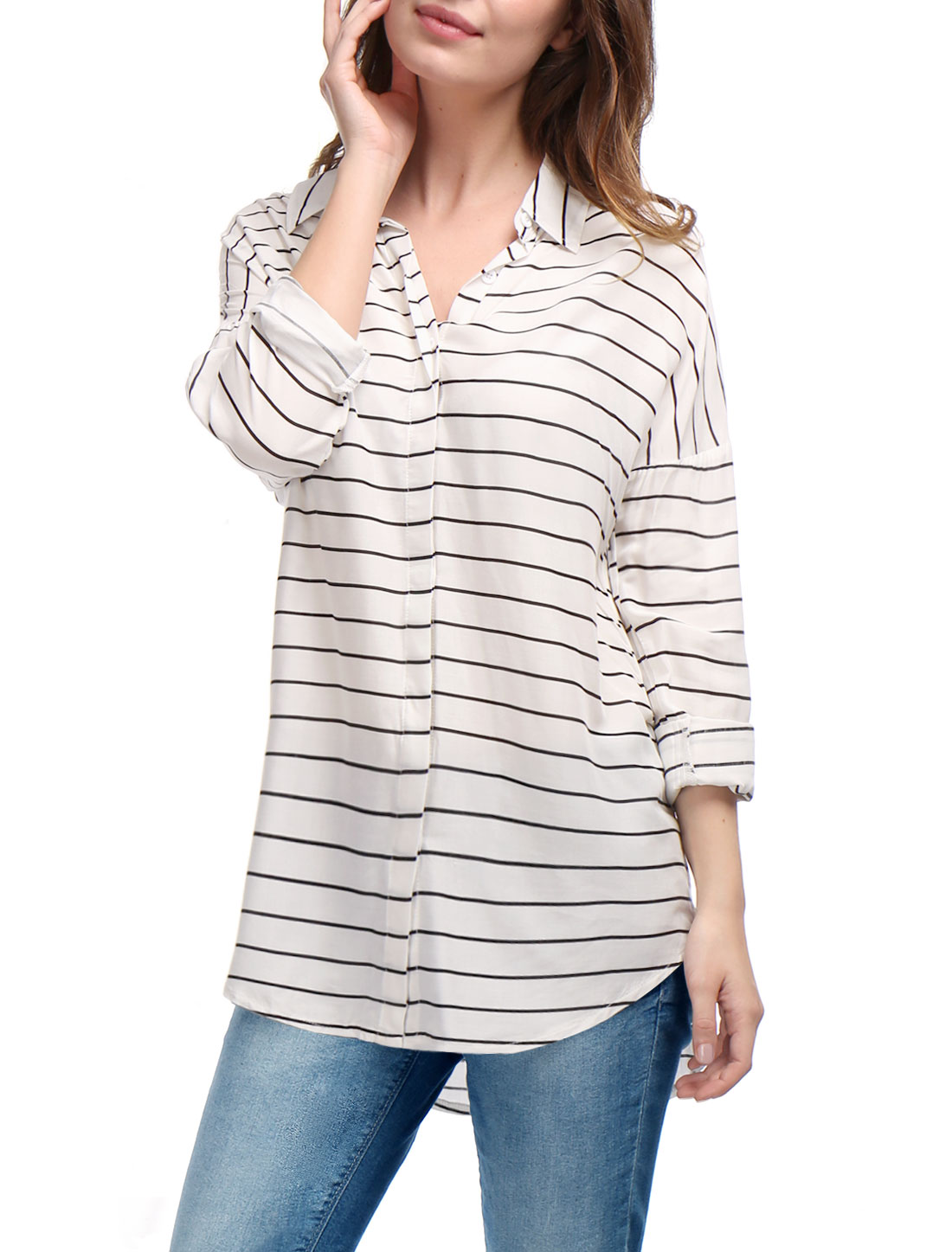 Women Stripes Drop Shoulder Hi-Lo Loose Tunic Shirt White XS