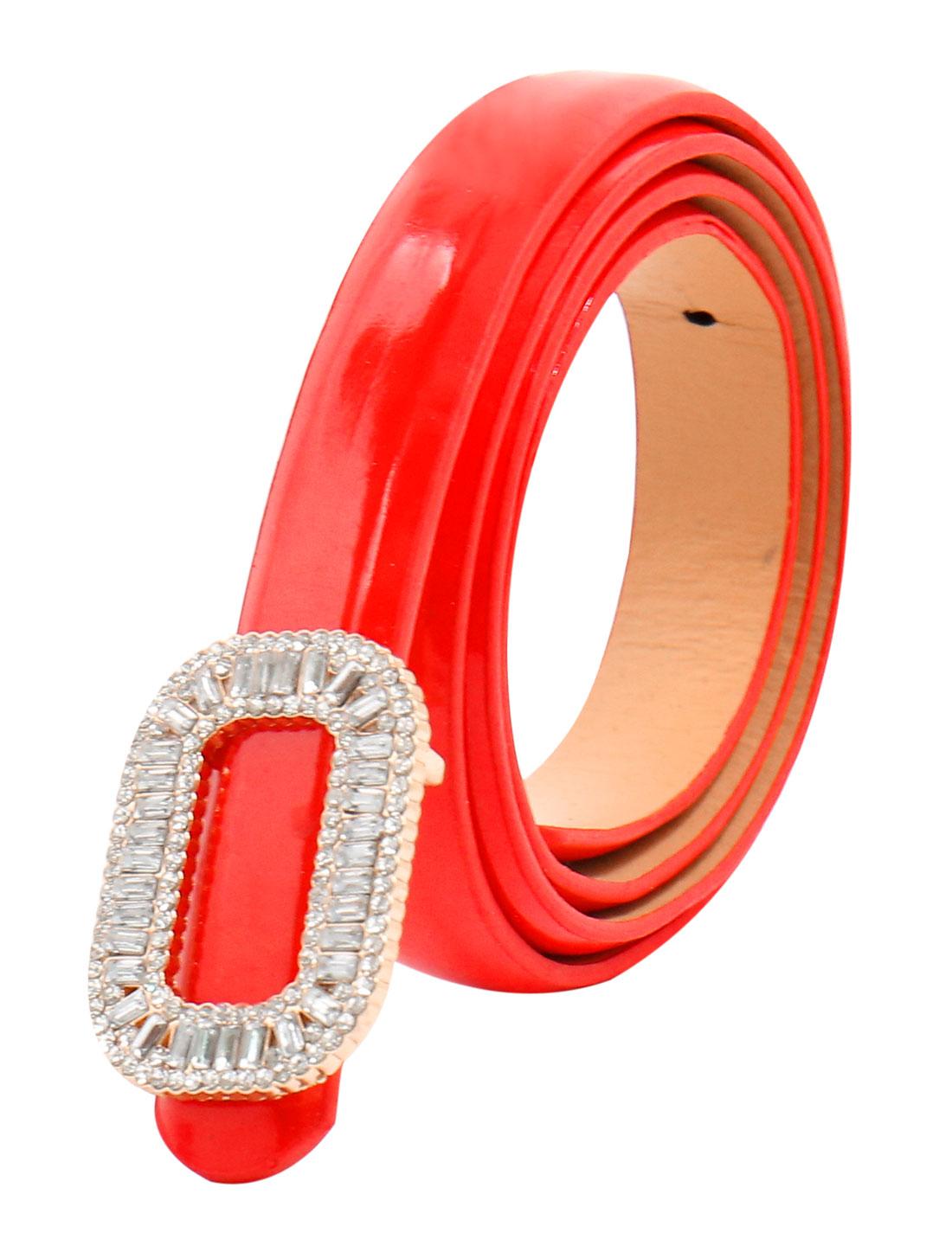 Women Rhinestone Decor Press Buckle Skinny Waist Belt Red