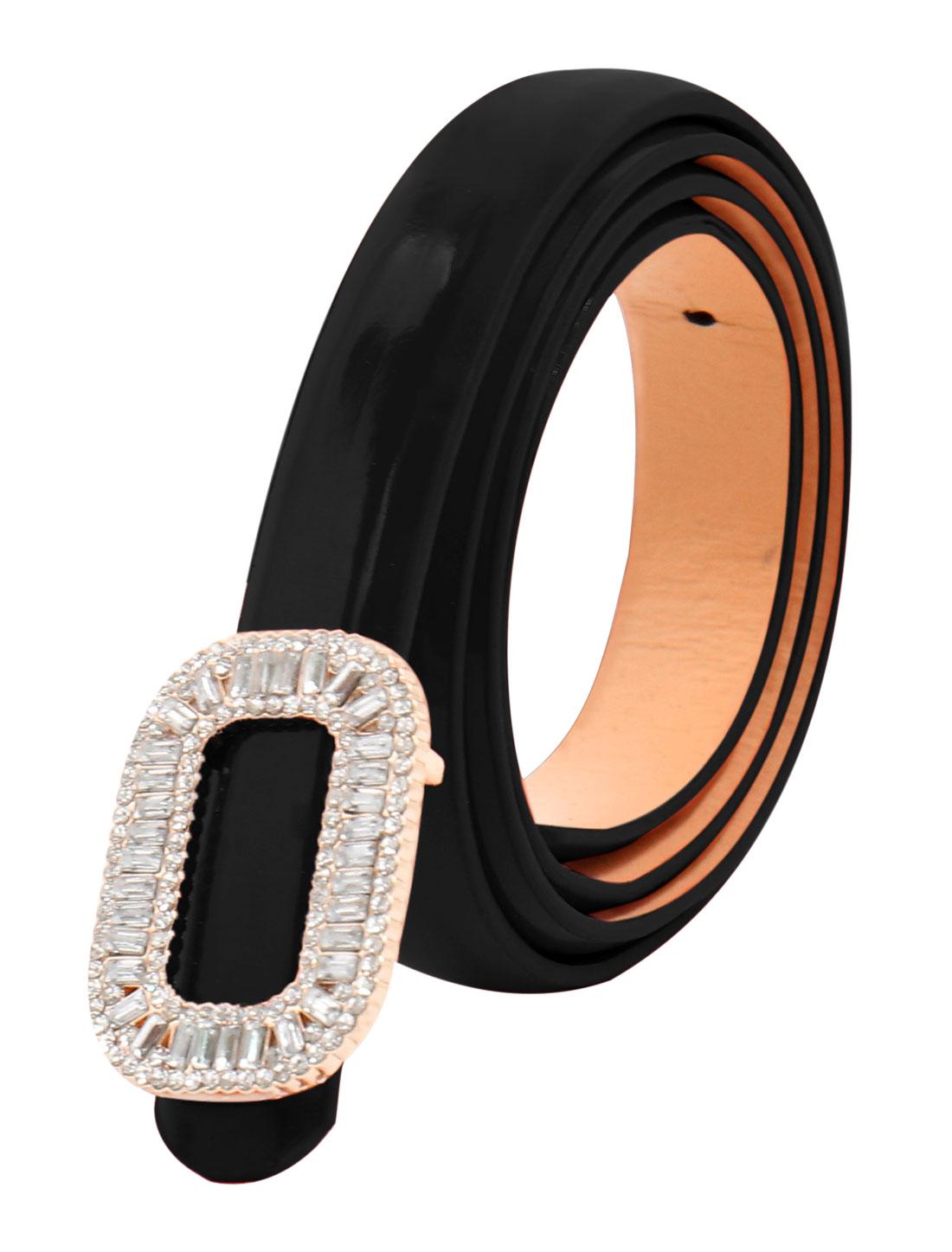 Women Rhinestone Decor Press Buckle Skinny Waist Belt Black
