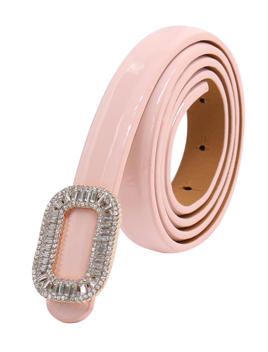 Women Rhinestone Decor Press Buckle Skinny Waist Belt Pink