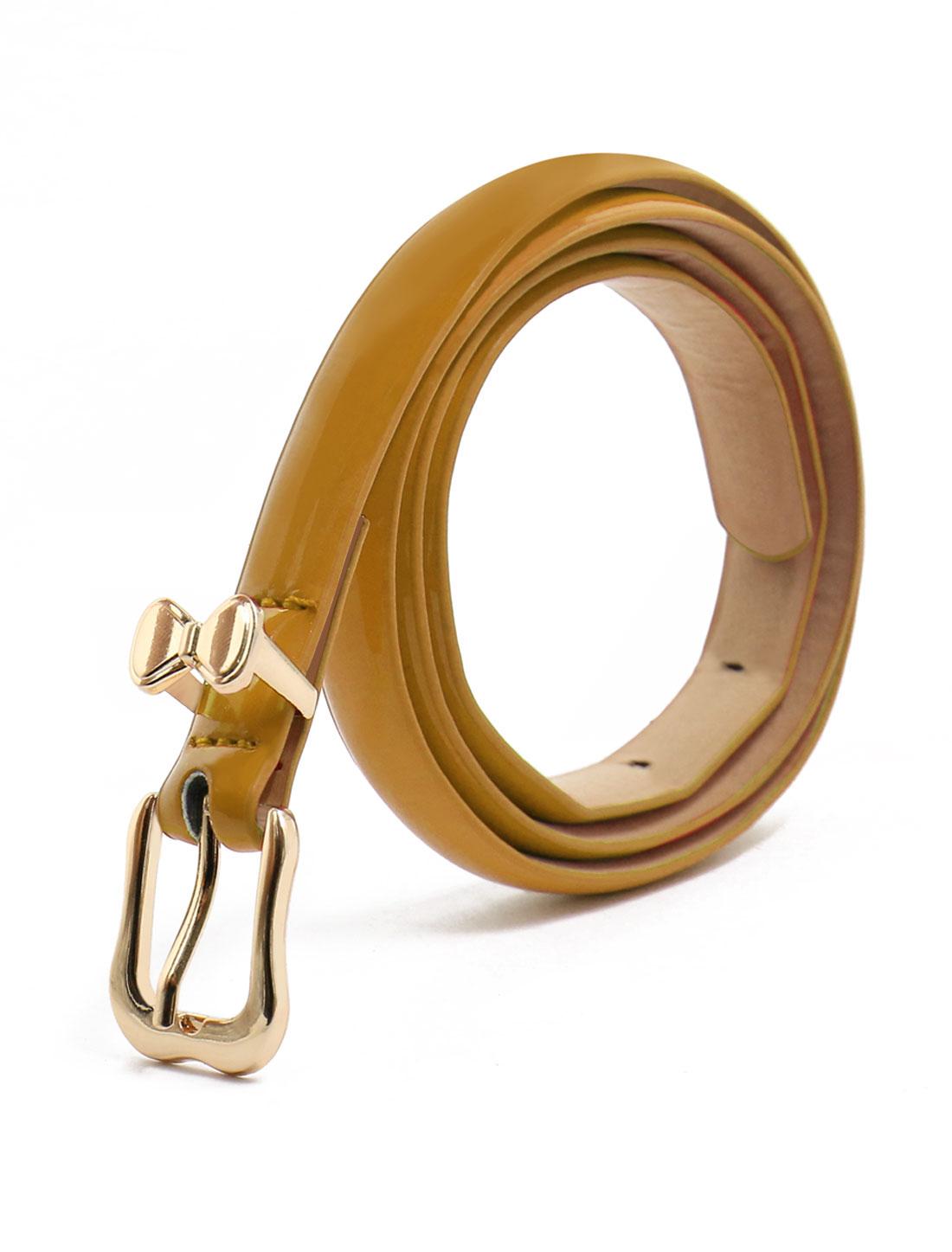 Women Single Pin Buckle Bowknot Decor Adjustable PU Belt Brown