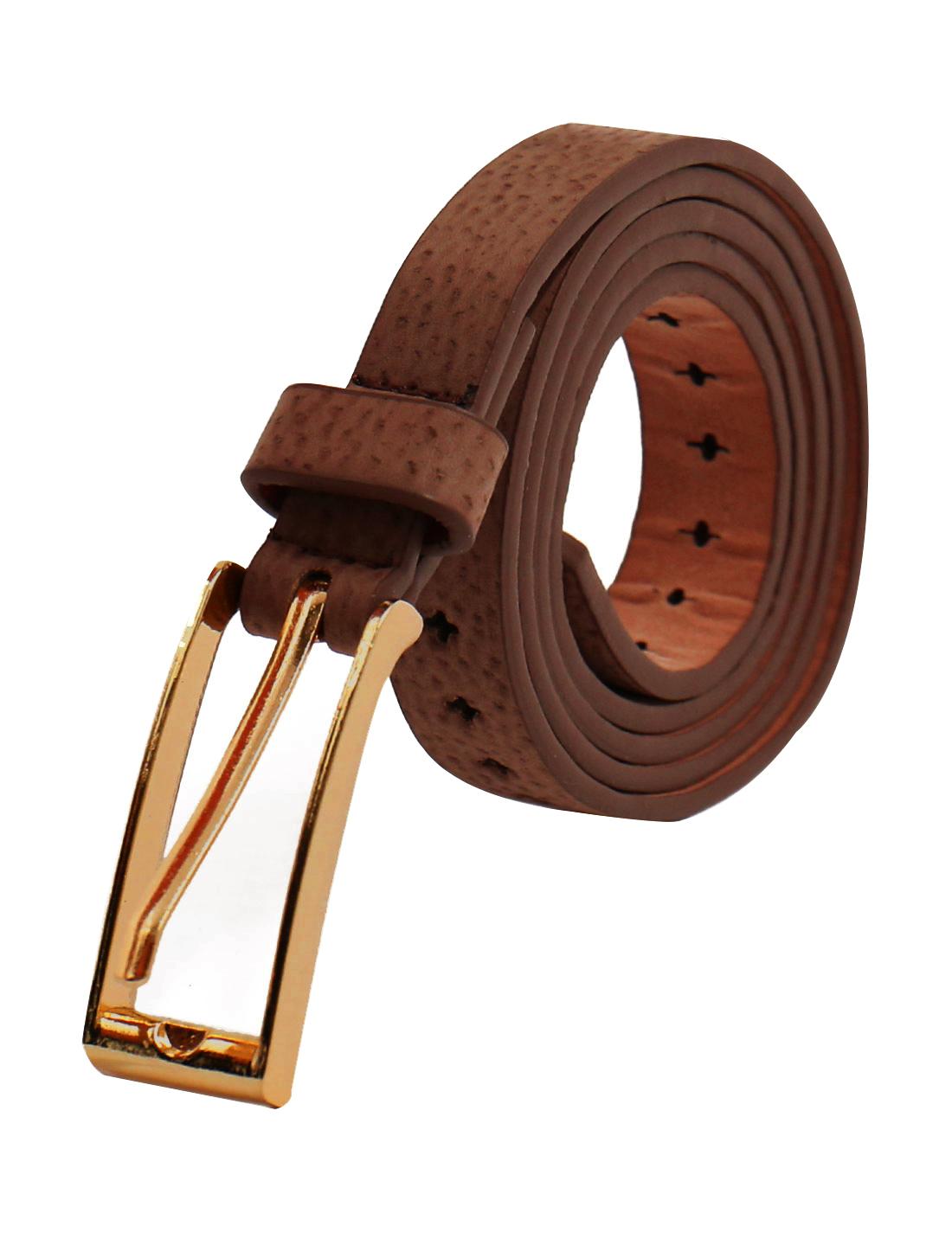 Women Cross Perforated Design Single Pin Buckle PU Skinny Belt Dark Brown