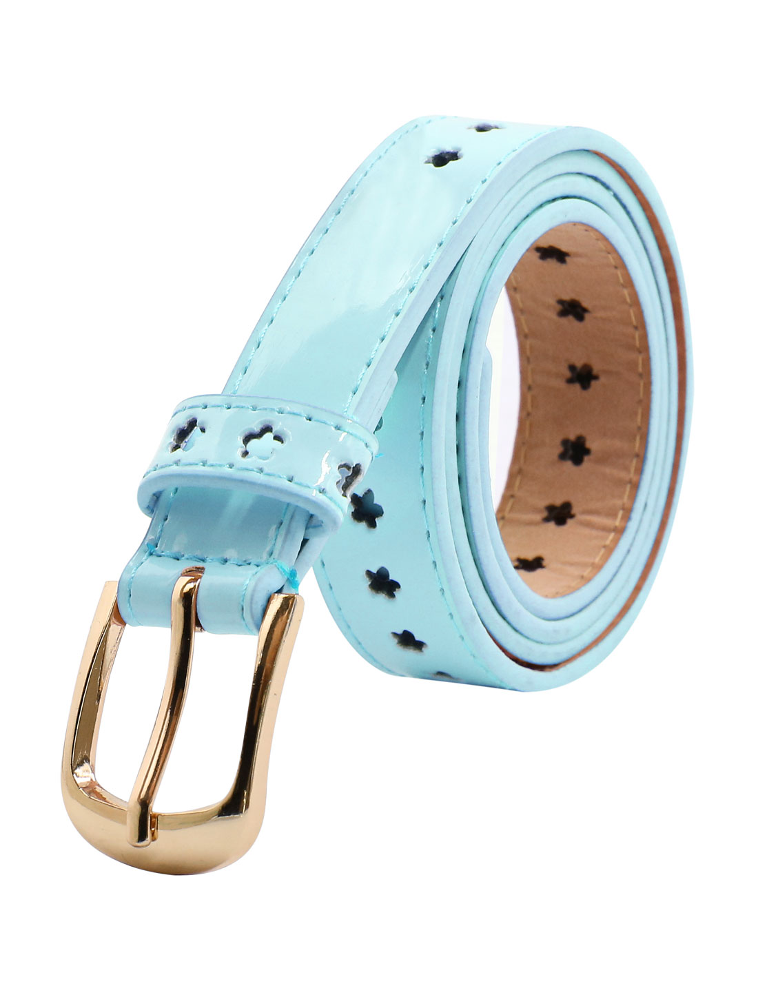 Women Single Pin Buckle Floral Design Perforated PU Belt Blue