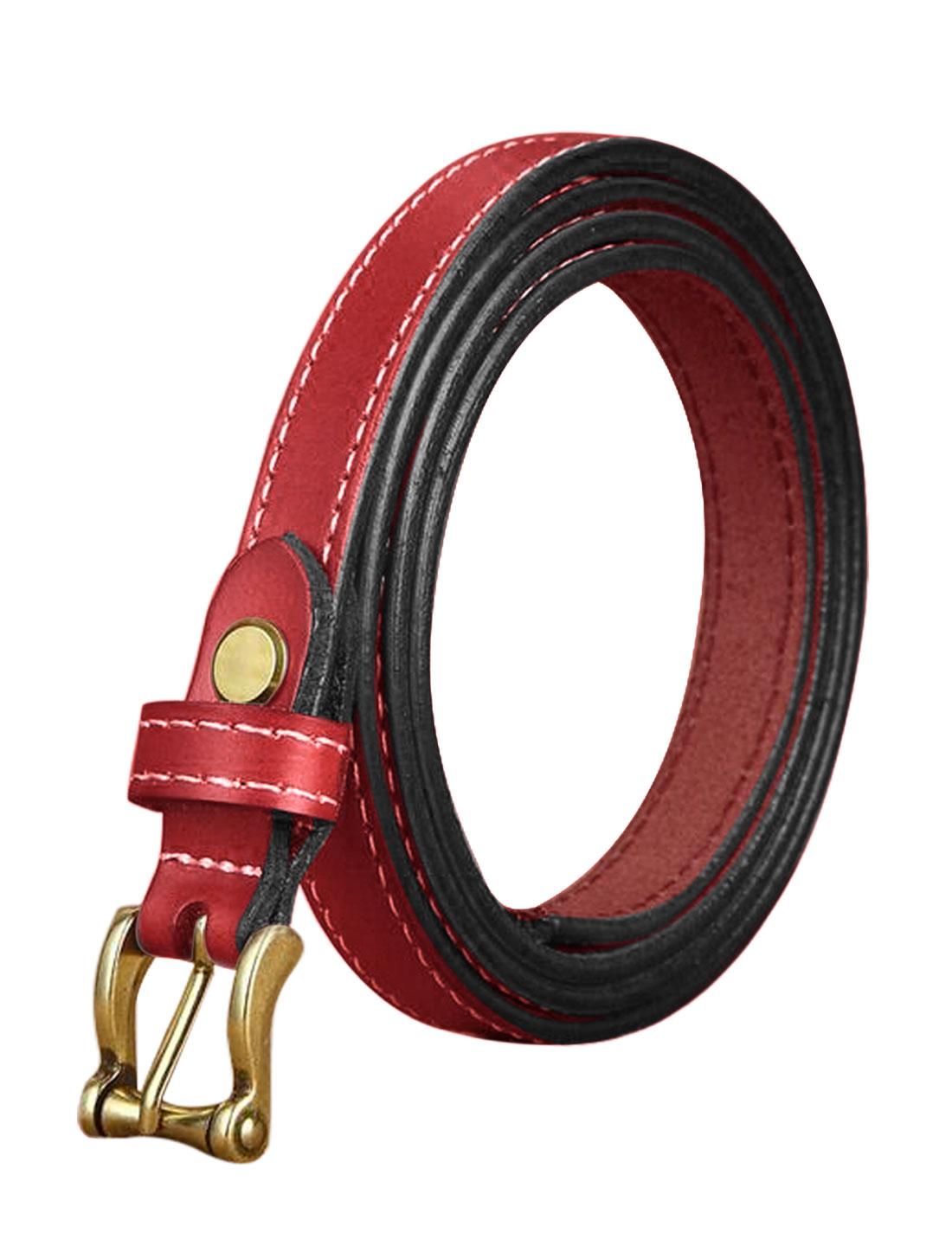 Ladies Single Pin Buckle Decorative Stitch Adjustable PU Belt Red