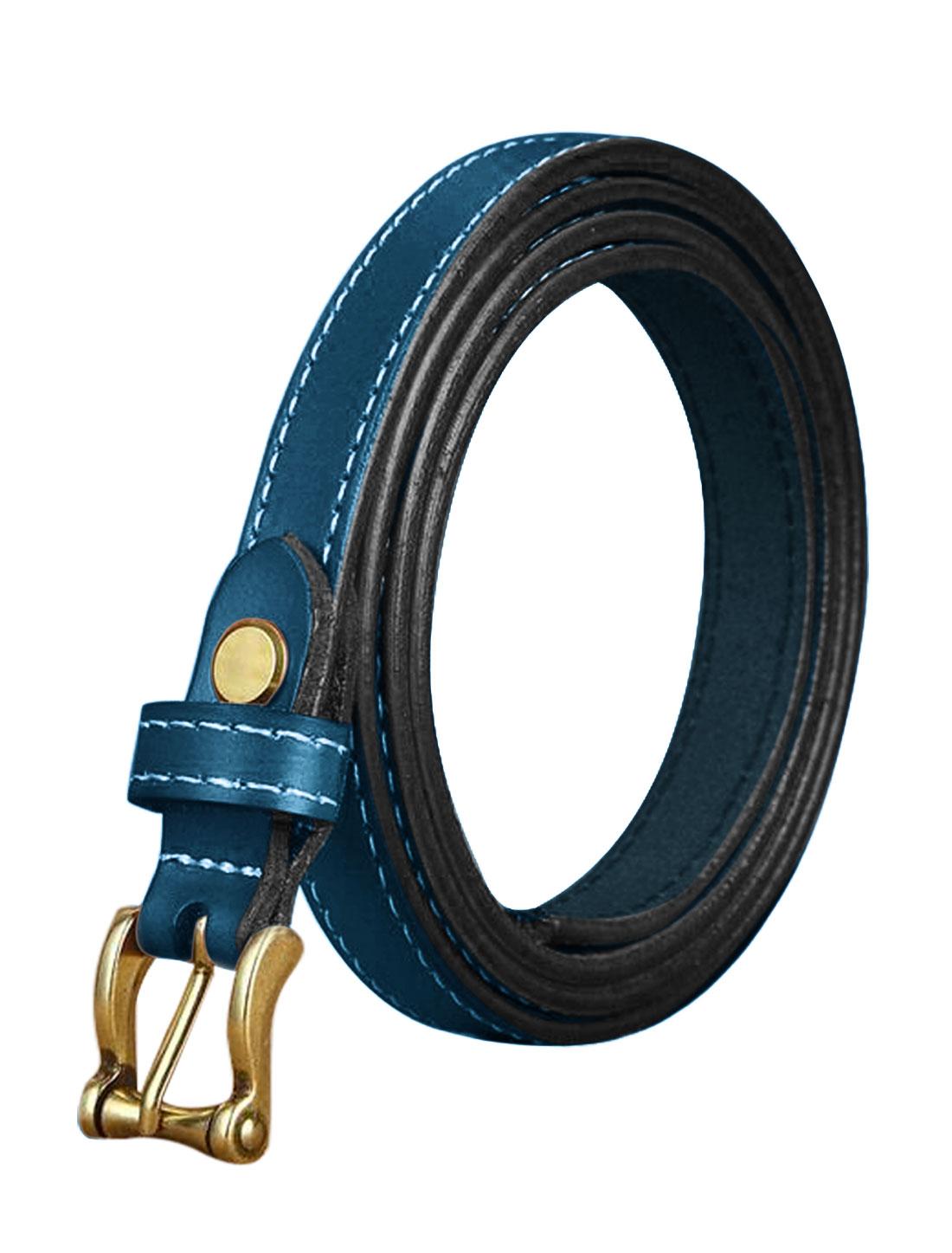 Ladies Single Pin Buckle Decorative Stitch Adjustable PU Belt Blue