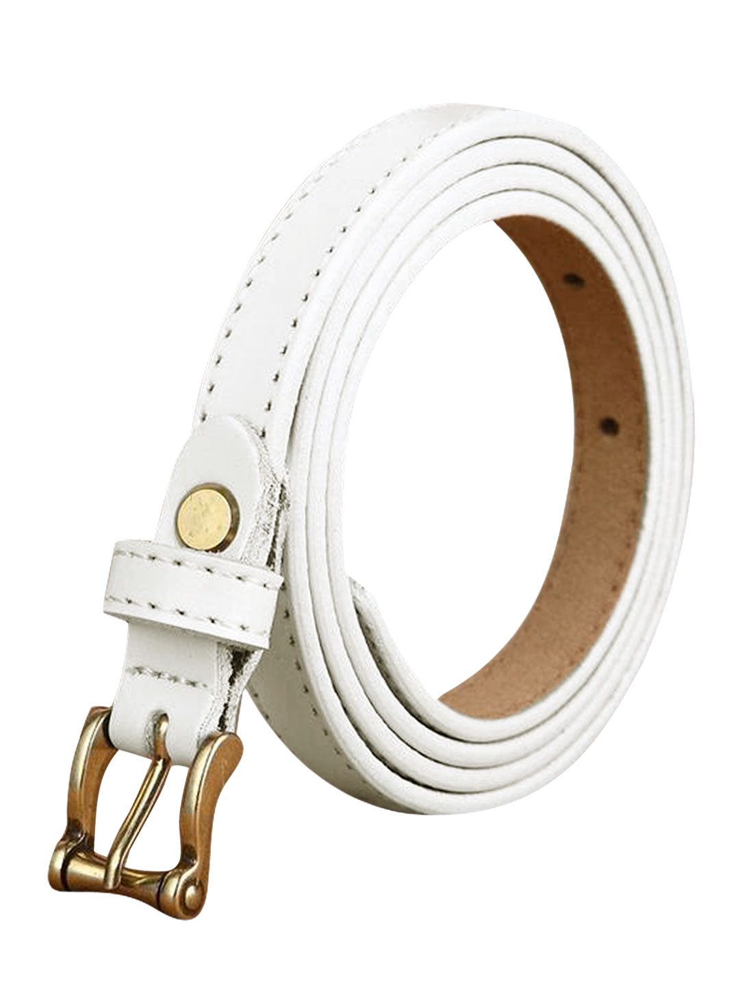 Ladies Single Pin Buckle Decorative Stitch Adjustable PU Belt White