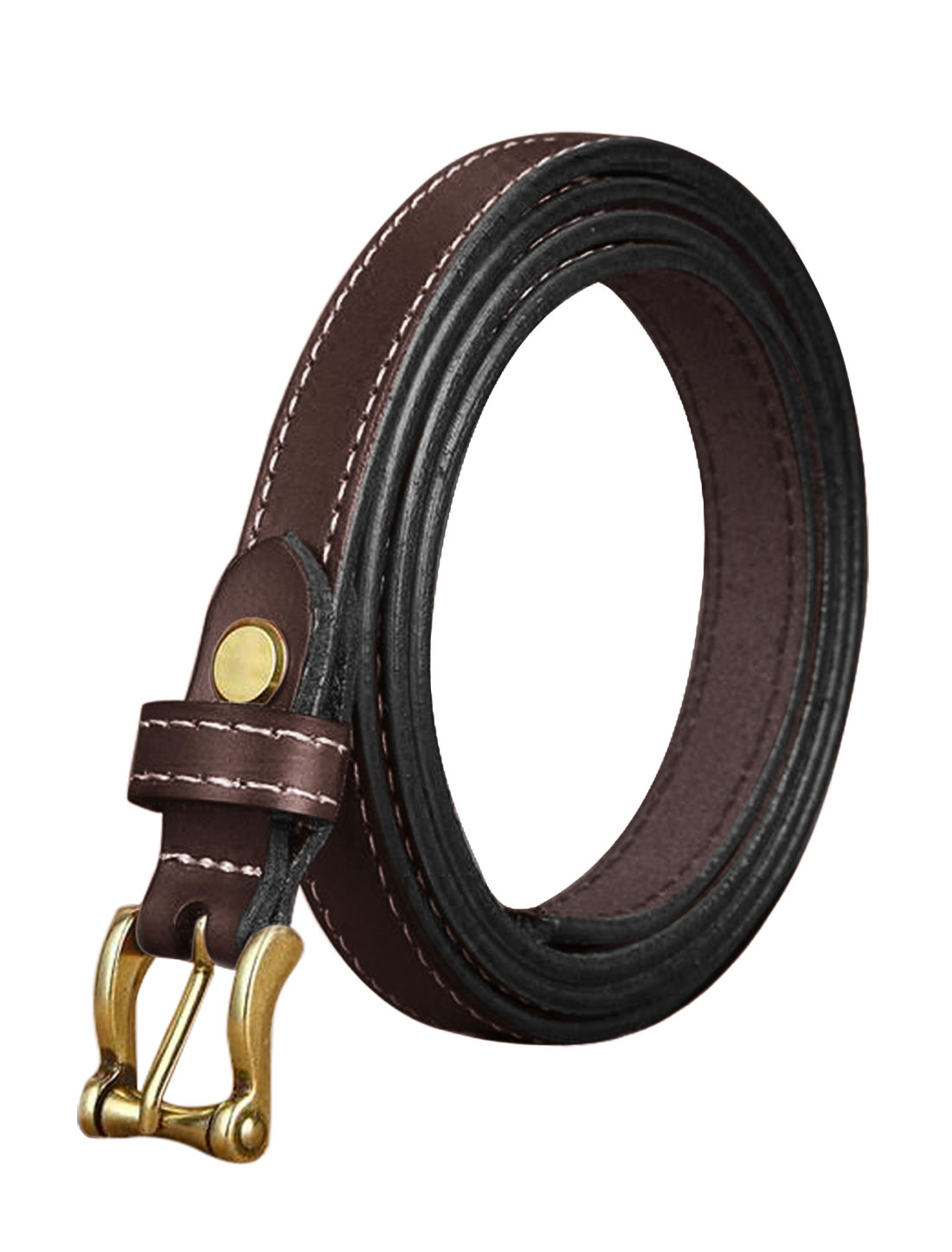 Ladies Single Pin Buckle Decorative Stitch Adjustable PU Belt Dark Brown