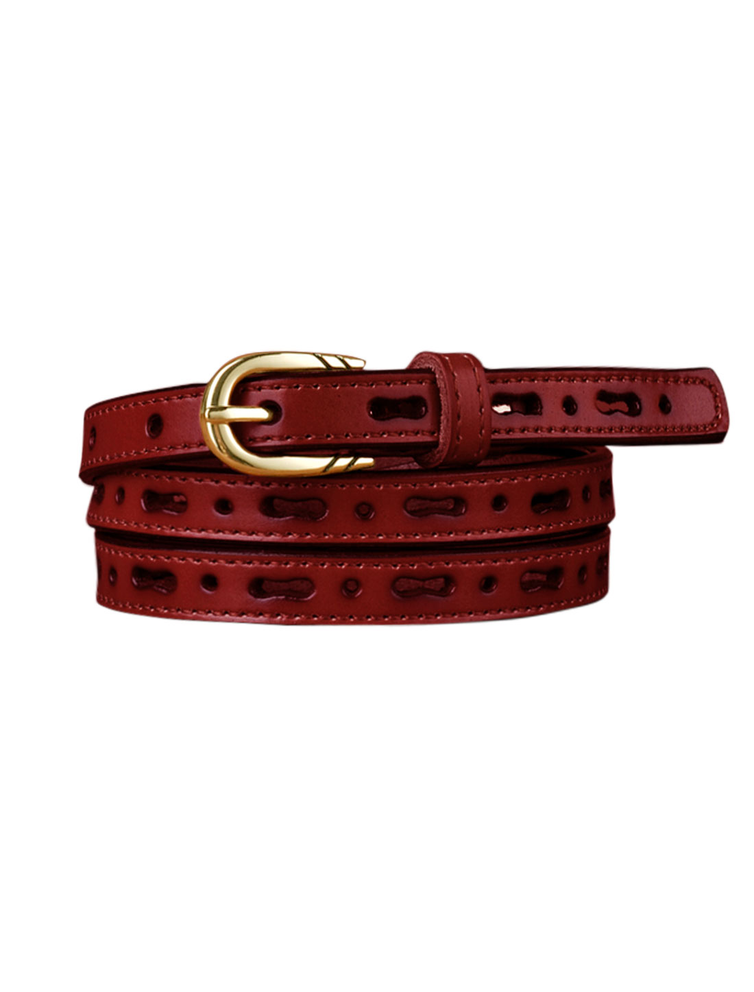 Women Perforated Design Single Pin Buckle PU Skinny Waist Belt Red