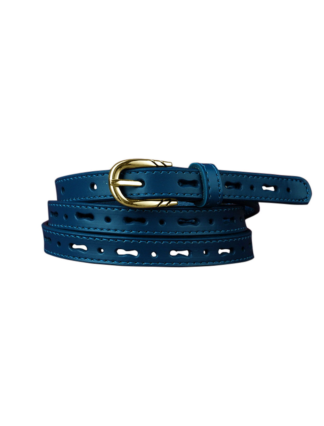 Women Perforated Design Single Pin Buckle PU Skinny Waist Belt Blue