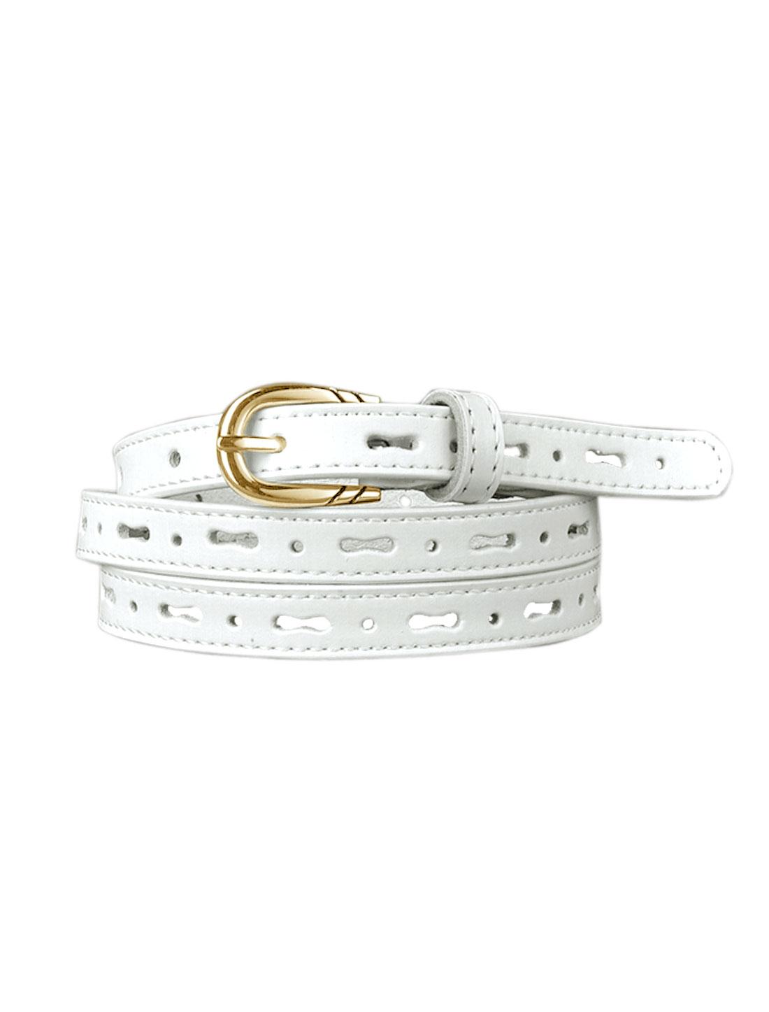 Women Perforated Design Single Pin Buckle PU Skinny Waist Belt White